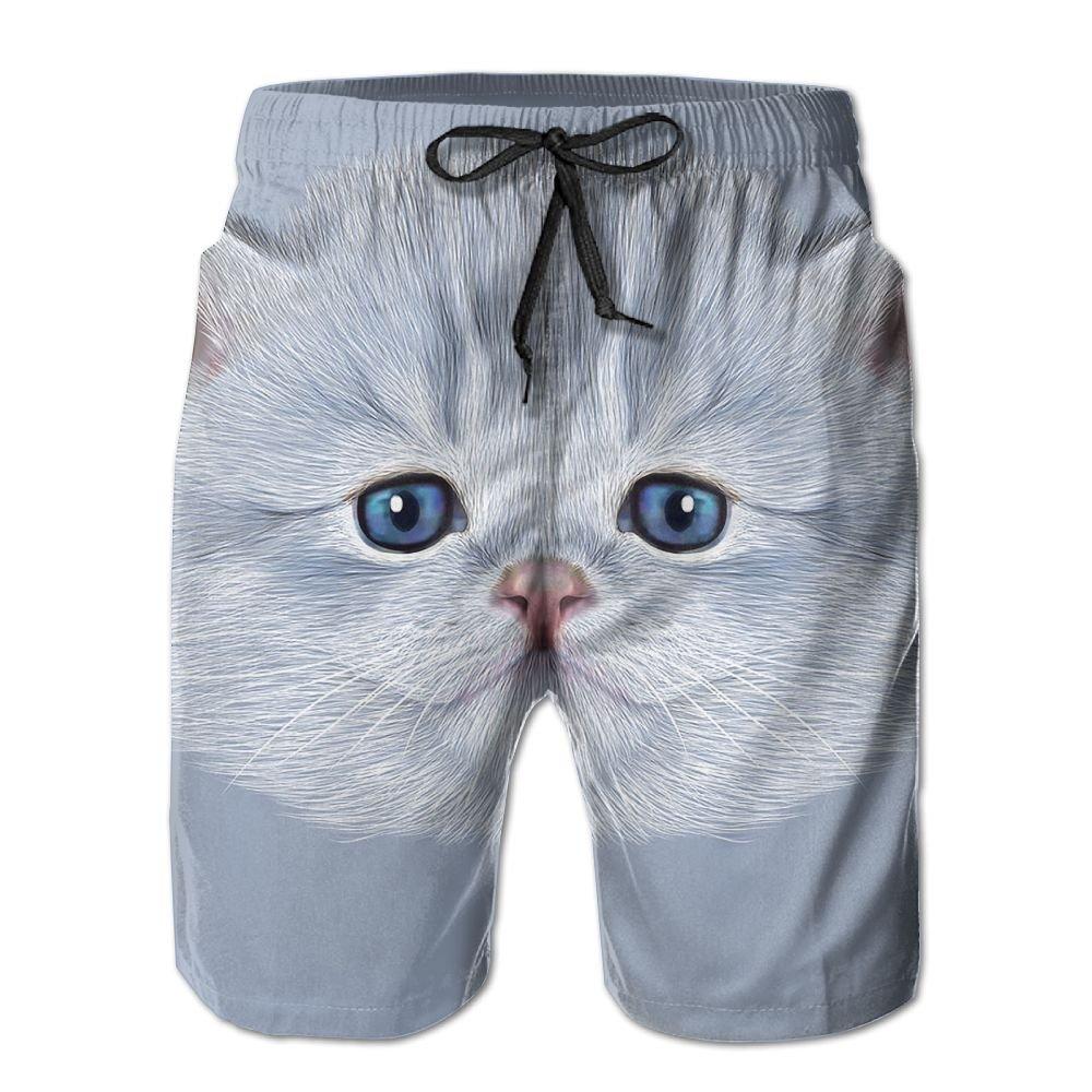 Mens Cat Illustrator Pattern Shorts Elastic Waist Pockets Lightweight Beach Shorts Boardshort