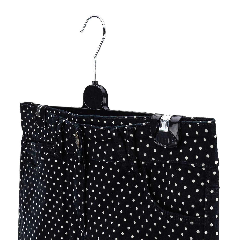 Hangerworld 25 Perchas 30cm para Ropa de Ni/ños Pl/ástico Negro con Pinzas para Faldas y Pantalones