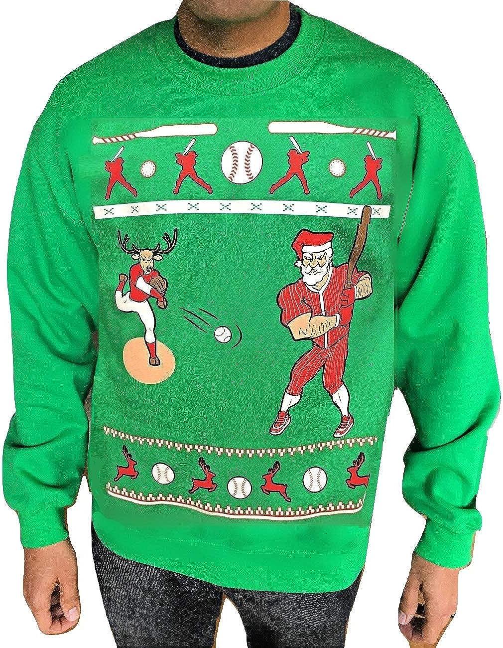 Baseball Slugger Santa Ugly Christmas Sweater Funny Christmas Sweatshirt for Men and Women