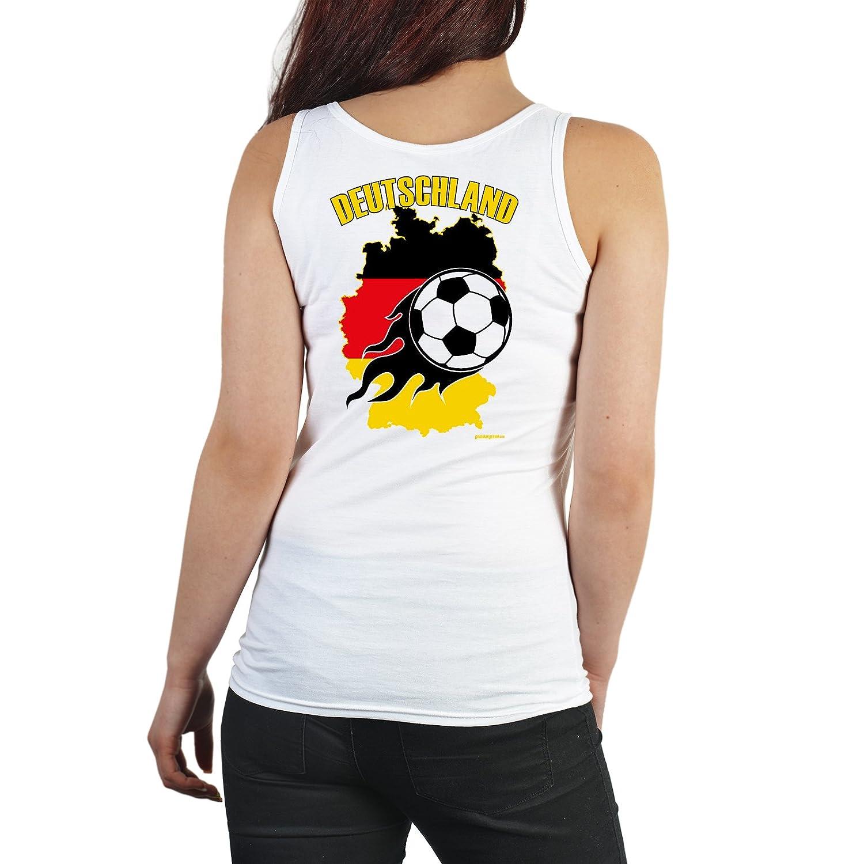 Cooles Damen Fußballshirt / Tank Top Damen : Deutschland / Druck auf Rücken -- Fussball Damenshirt Farbe: weiss