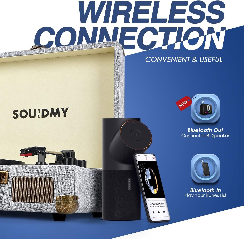 Souidmy - Reproductor de Discos de Vinilo, Tocadiscos Bluetooth ...