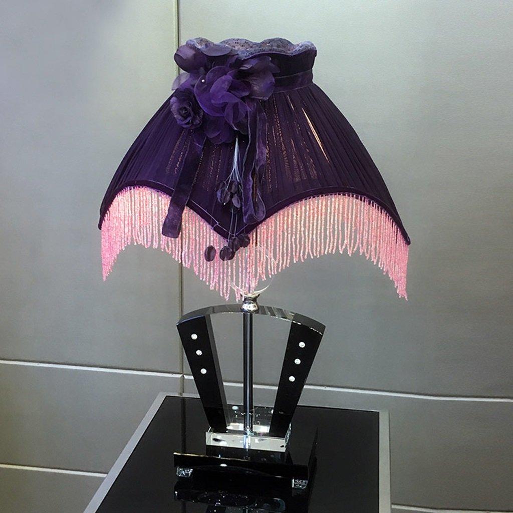 Hanlon E27-Schraubsockel, Tischlampe Elegante Luxus Edle Quaste Blumen Europäische Kristall Lila Lampe Designer Nachttischlampe Schlafzimmer