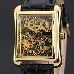 LNTGO 2015 New Fashion Winner Brand Leather Men Luxury Business Casual Watches Skeleton Cool Mechanical Hand