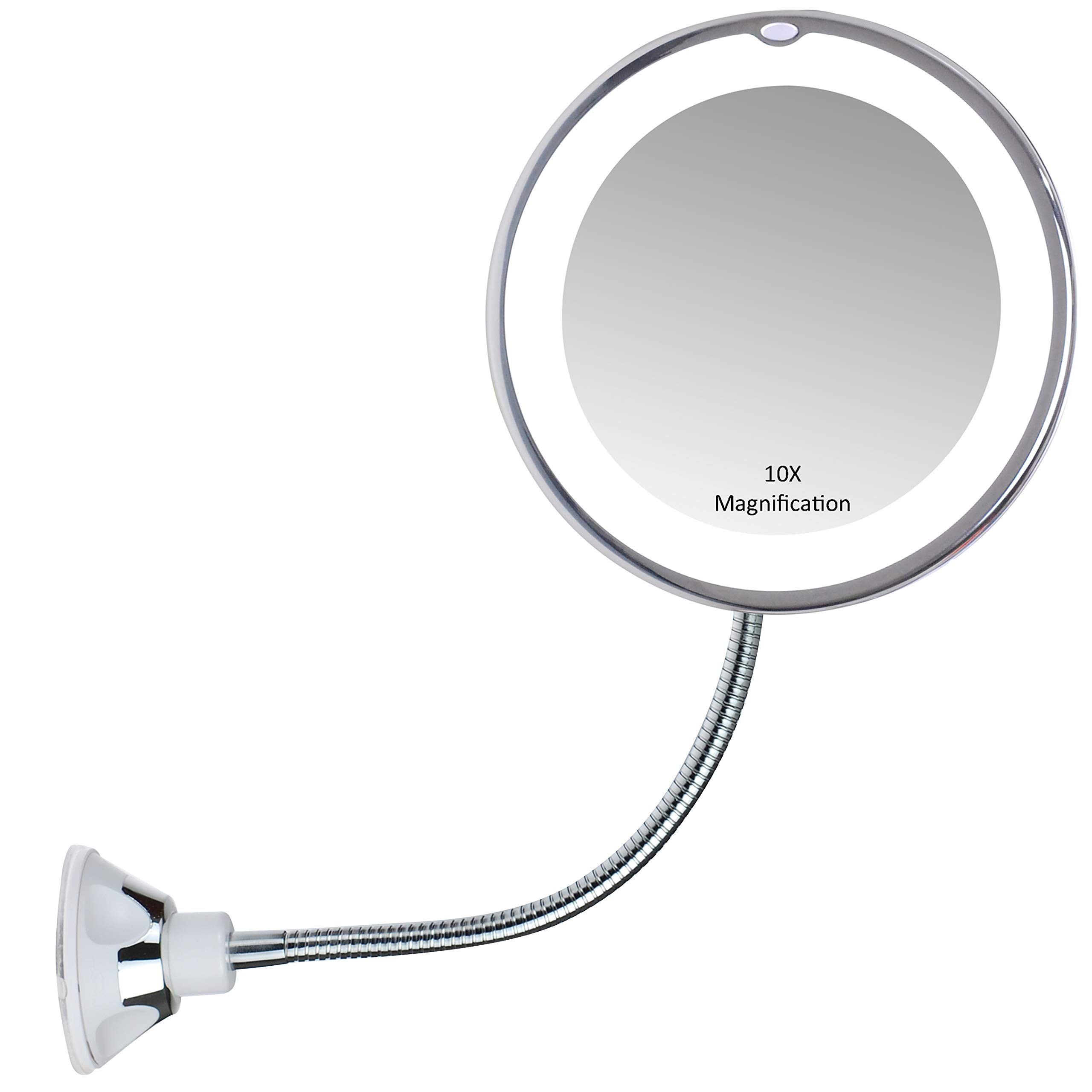 Gooseneck Magnifying Mirror with light, 10X Magnification, Bathroom ...