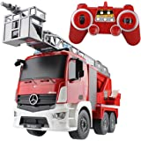 Hugine Rc Fire Truck Authorized by Mercedes-Benz Antos 2. 4G 9 Channel Kids Remote Control Aerial Ladder Engine with Lights and Sounds Toys
