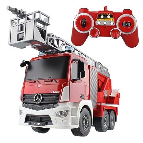 Hugine RC Fire Truck Autorizado por Mercedes-Benz Antos 2.4G 9 Canales de Control Remoto para Niños Escalera Aérea Fire Engine Truck con Luces y Sonidos de ...