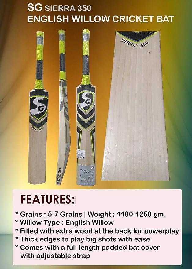 Amazon.com : SG Sierra 350 English Willow Cricket Bat Size SH 100% Original l Grains : 5-7 Grains | Weight : 1180-1250 gm. : Sports & Outdoors