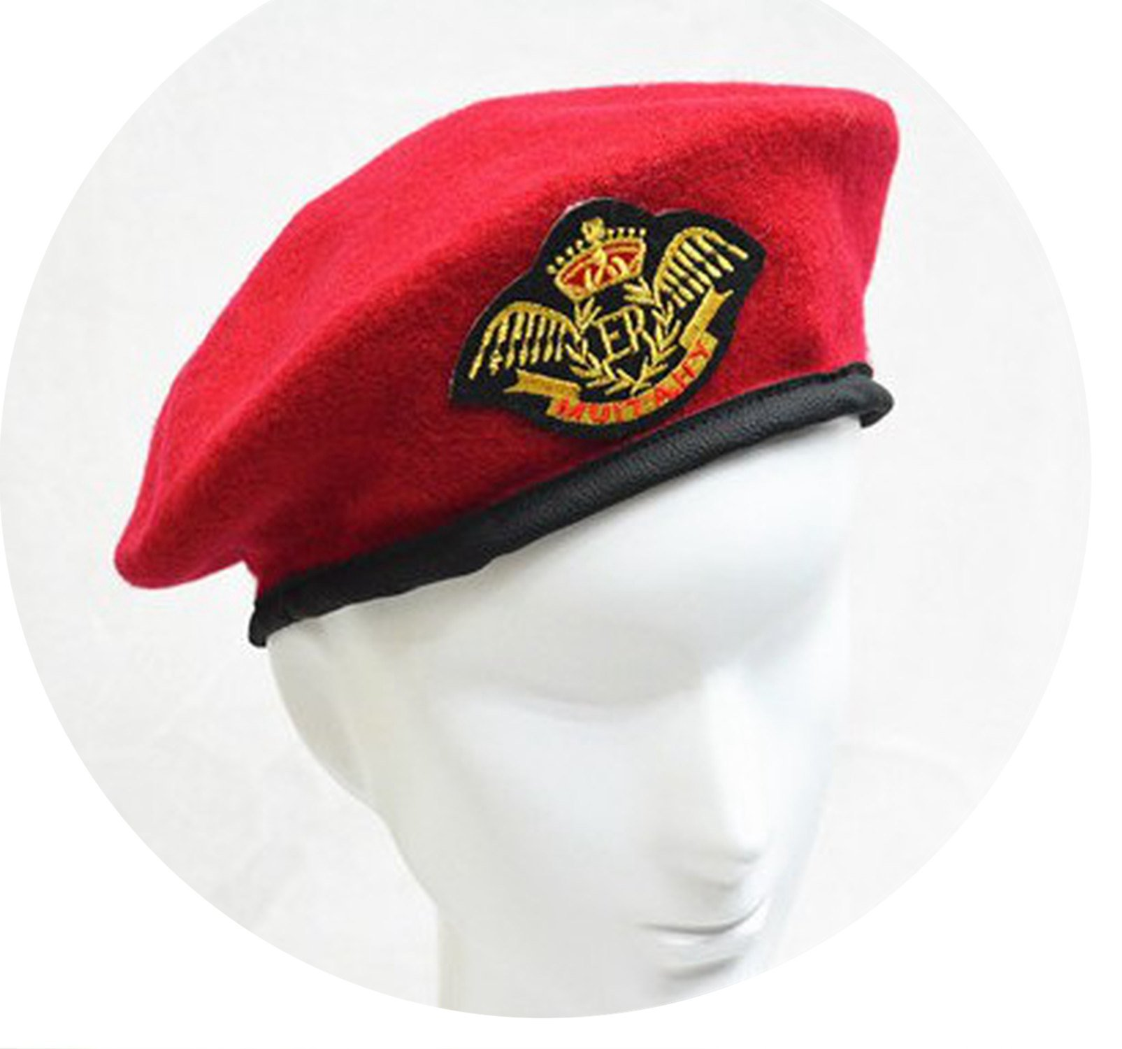 100% Wool Hat Performing Expendables Airline Stewardess Uniform Sailor Dance Metal Beret Hats,Eagle Wine Red