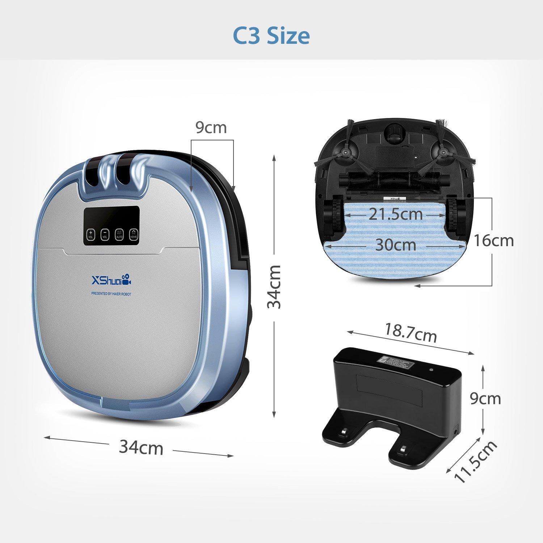 Xshuai C3 Presentado por Haier Robot de aspiradora con Siri y Amazon Alexa Voice Control cámara de video chat Limpieza de horarios Auto-Charge 5 modos de ...