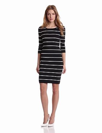Pink Tartan Women's Long Sleeve Stripe Power Stretch Dress, Black/White, X-Small
