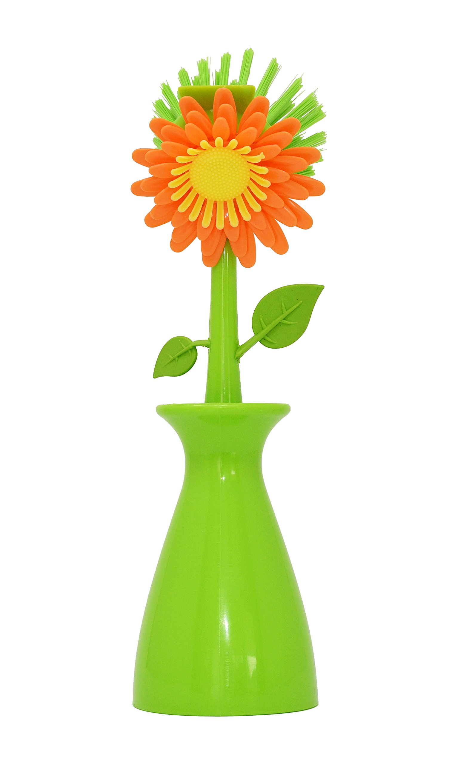 Flower Scrub Brush and Vase Brush Holder - by Home-X