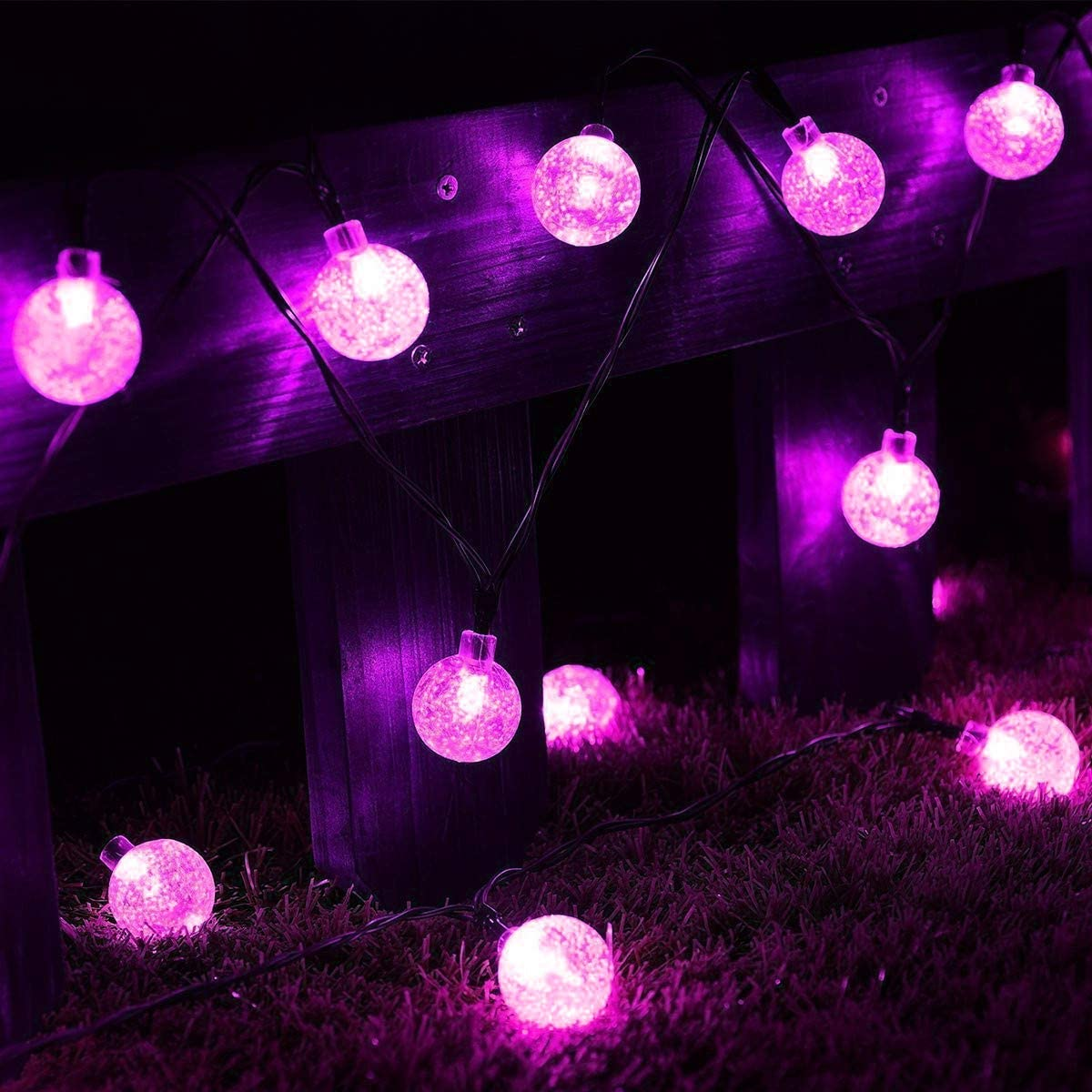 Luces Decorativas de Bola al Aire Libre, 12M 100LED Bubble Crystal Ball Lights Luces Decorativas de Globo Bombilla Decorativa Solar Luces Interiores Jardín Luces al Aire Libre para Fiesta Árbol Boda Pink