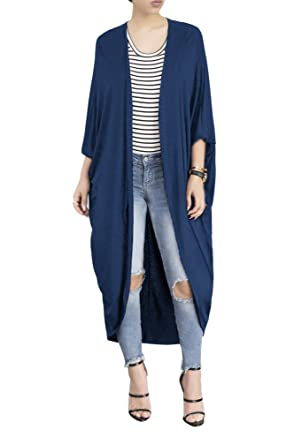 267a9d8c40 Women's Long Sleeve Open Front Maxi Duster Cardigan Sweater Kimono  Coat,Spring Summer Sweaters for Women