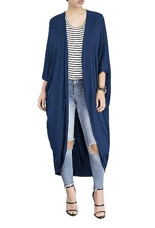 b061c7cd376 Women s Long Sleeve Open Front Maxi Duster Cardigan Sweater Kimono ...