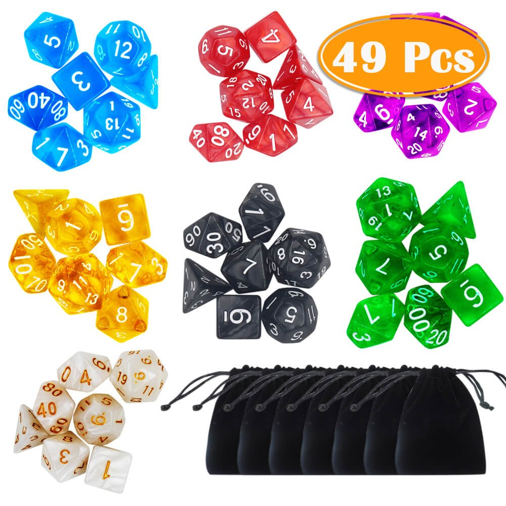 PAXCOO 7 x 7 (49 Pieces) Polyhedral Dice with Pouches for Dungeons and Dragons DND RPG MTG D20 D12 D10 D8 D4 by PAXCOO