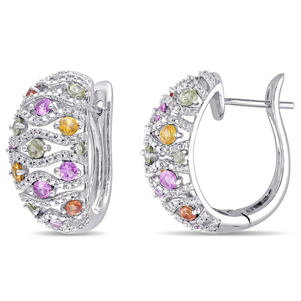 14k White Gold 2 1/3 ct TGW Green Sapphire Yellow Sapphire Pink Sapphire and 1/4 ct Diamond Hoop Earring