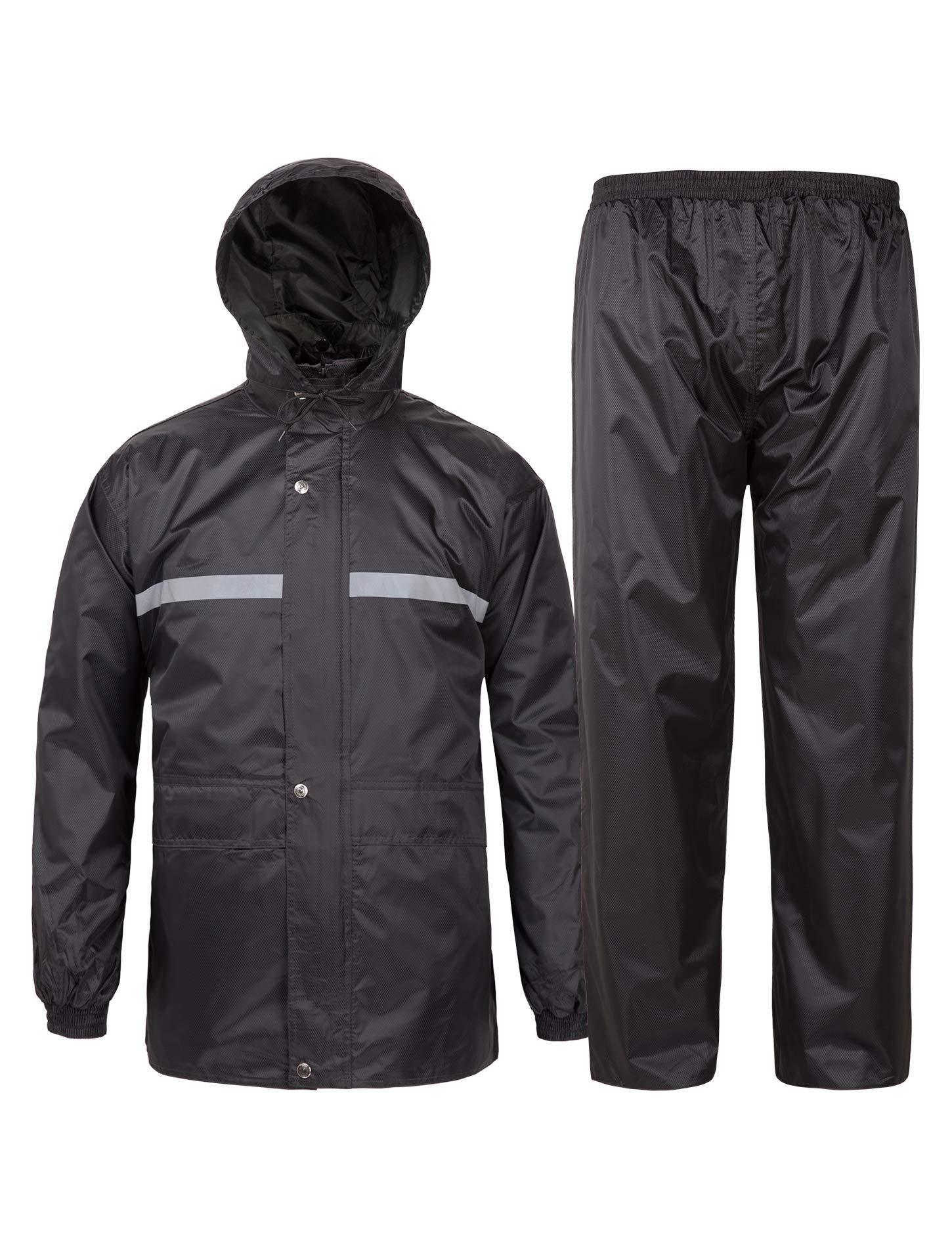 SWISSWELL Rain Suit for Men Waterproof Hooded Rainwear (Jacket & Trouser Suit) (Small, Black-Heavy) by SWISSWELL