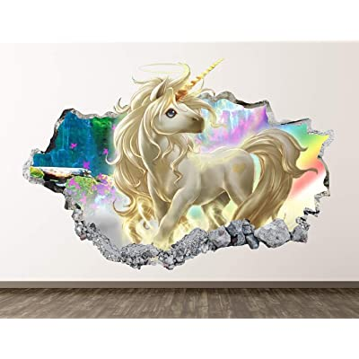 "West Mountain Unicorn Wall Decal Art Decor 3D Smashed Kids Fantasy Sticker Mural Nursery Girl Gift BL05 (22"" W x 14"" H): Home & Kitchen"