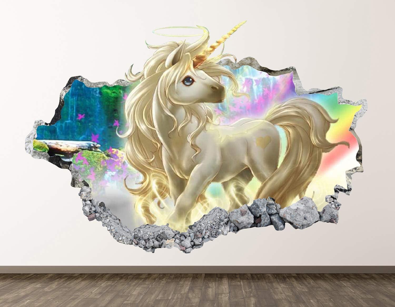 West Mountain Unicorn Wall Decal Art Decor 3D Smashed Kids Fantasy Sticker Mural Nursery Girl Gift BL05 (22