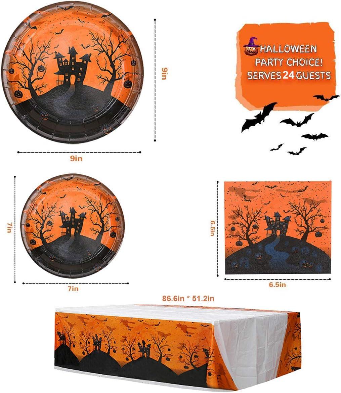 Halloween Party Supplies Includes Halloween Plates Halloween Cups Halloween Napkins Halloween Table Coversfor Halloween Birthday Decorations Kids Pumpkin Plates Halloween dinnerware set Serves 24