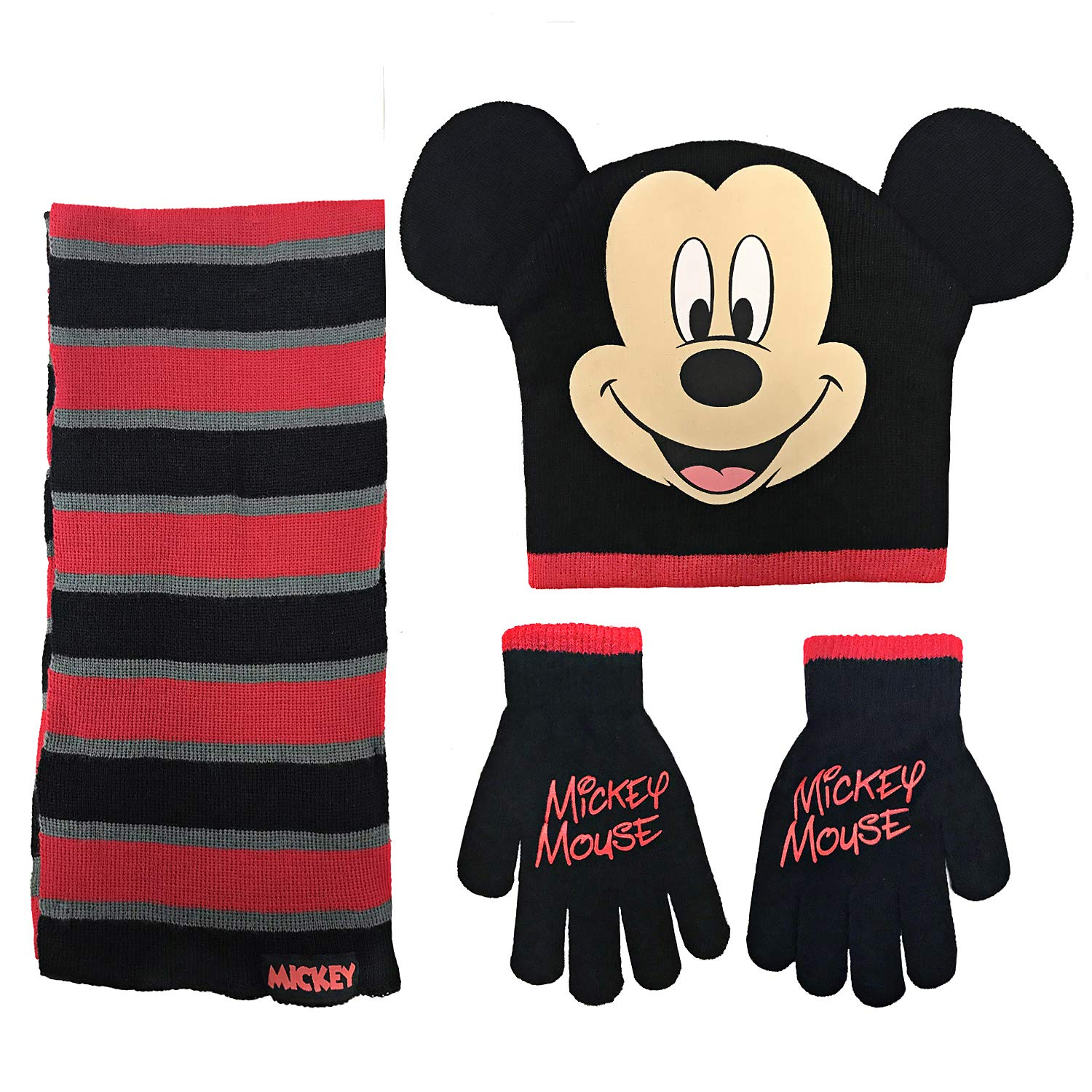 Disney Mickey Mouse Boys Beanie Hat Scarf Mitten Set - Toddler Size [4015]
