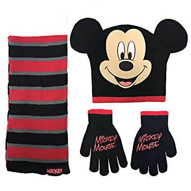 f68596396c1 Image Unavailable. Image not available for. Color  Disney Mickey Mouse Boys  Beanie Hat Scarf Mitten Set - Toddler ...