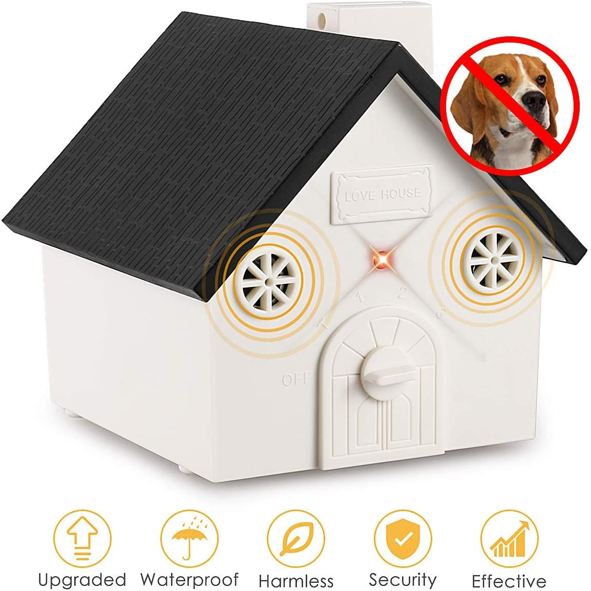 Humutan Anti Barking Device, 2019 New Bark Box Outdoor Dog Repellent Device with Adjustable Ultrasonic Level Control Safe for Small Medium Large Dogs, Sonic Bark Deterrents, Bark Control Device