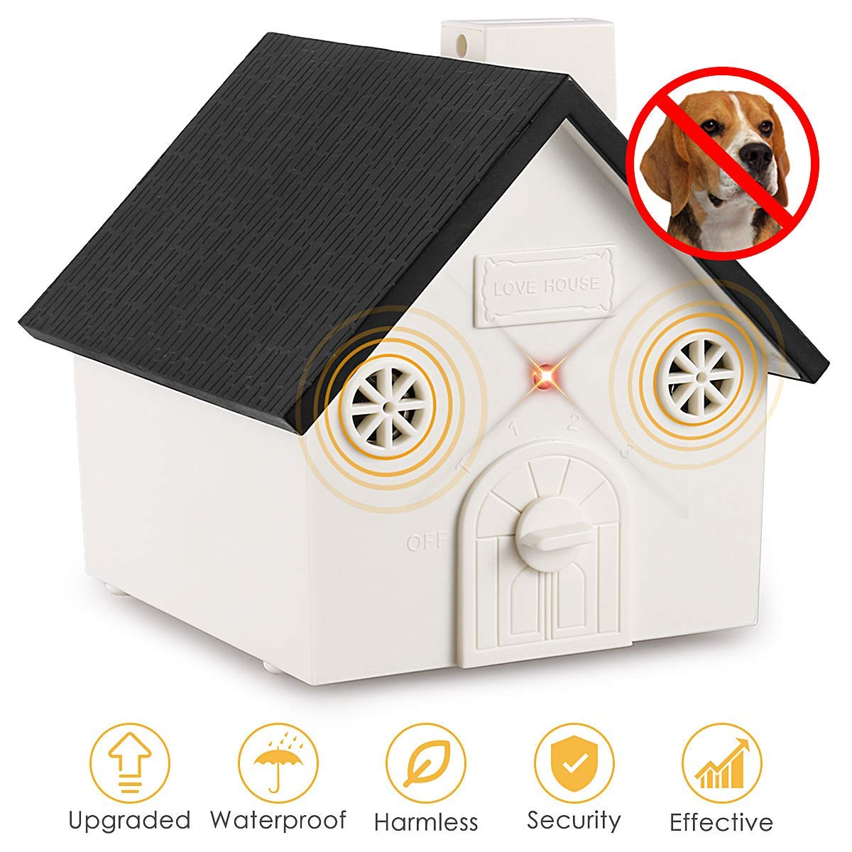 2019 New Bark Box Outdoor Dog Repellent Device with Adjustable Ultrasonic Level Control Safe for Small Medium Large Dogs Bark Control Device Sonic Bark Deterrents Zomma Anti Barking Device