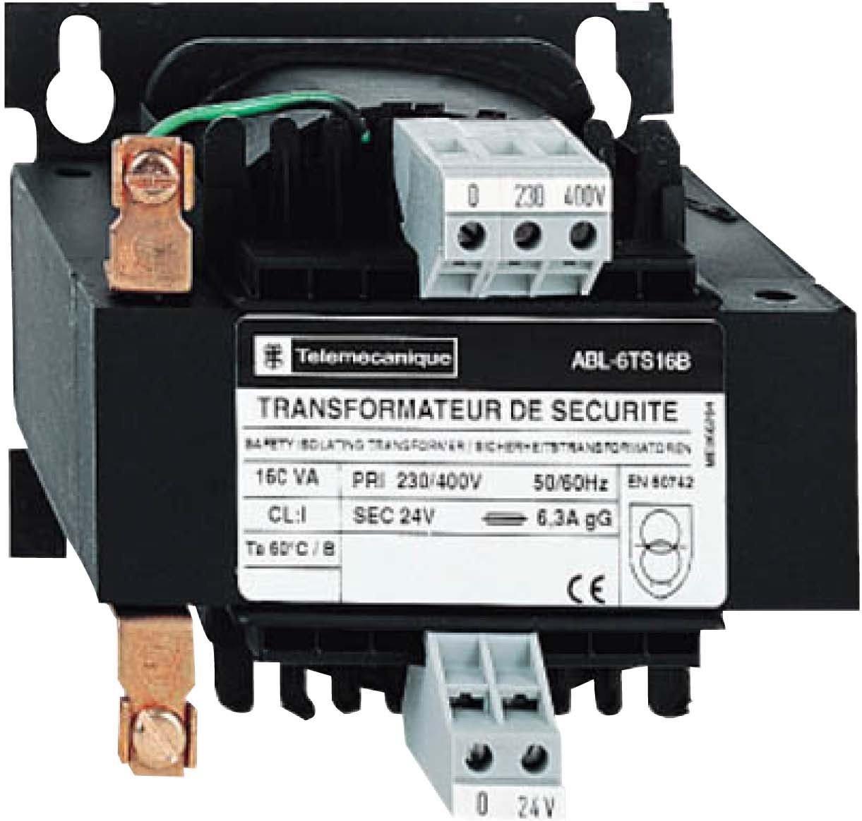 Schneider Electric ABL6TS10B Transformador de Tensión, 230-400 V, 1 x 24 V, 100 VA, IP 20