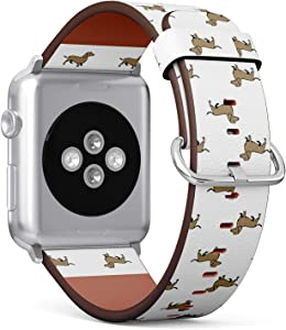 Compatible with Apple Watch Series 5, 4, 3, 2, 1 (Small Version 38/40 mm) Leather Wristband Bracelet Replacement Accessory Band + Adapters - Dachshund Dog