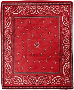 rouihot 60x80 Inches Throw Blanket Colorful Pattern Red Bandana Border Paisley Bandanna Classic Black Warm Cozy Print Flannel Home Decor Comfortable Blanket for Couch Sofa Bed