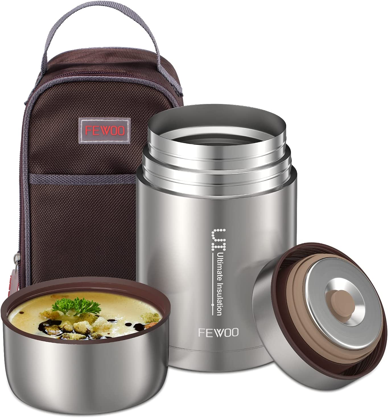 Food Jar - 27oz Vacuum Insulated Stainless Steel Lunch Thermos, Leak Proof Soup Containers with bag for Hot or Cold Food (Grey)