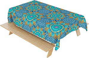 Mandala Tablecloth Memories Indian Hippie Table clothBohemian Psychedelic Peacock Table Cover for Dining Room Kitchen Decor (52