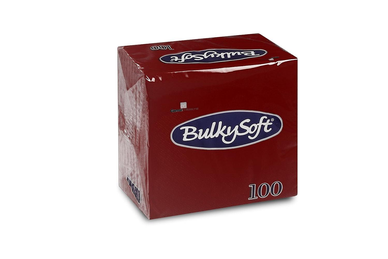 Bulky Soft BS-32620 - Tovaglioli piegati a 1/4, 2 veli, 24 x 24 cm, confezione da 100 pezzi, colore: Bordeaux Carrara