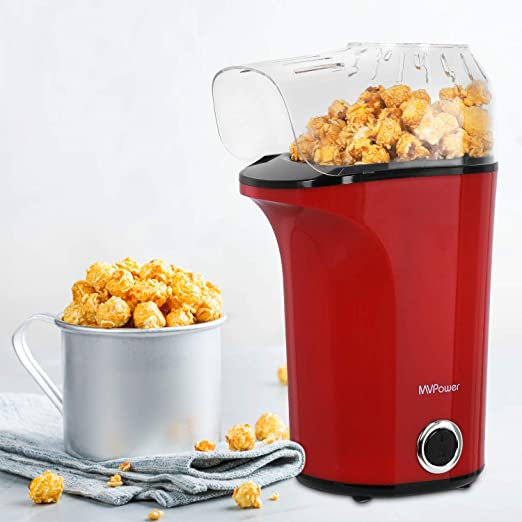 MVPower Máquina de Palomitas, 1400W Automática Popcorn Maker, Aire Caliente Potente sin Aceite, Tapa Extraíble y Libre de BPA, para Hogar