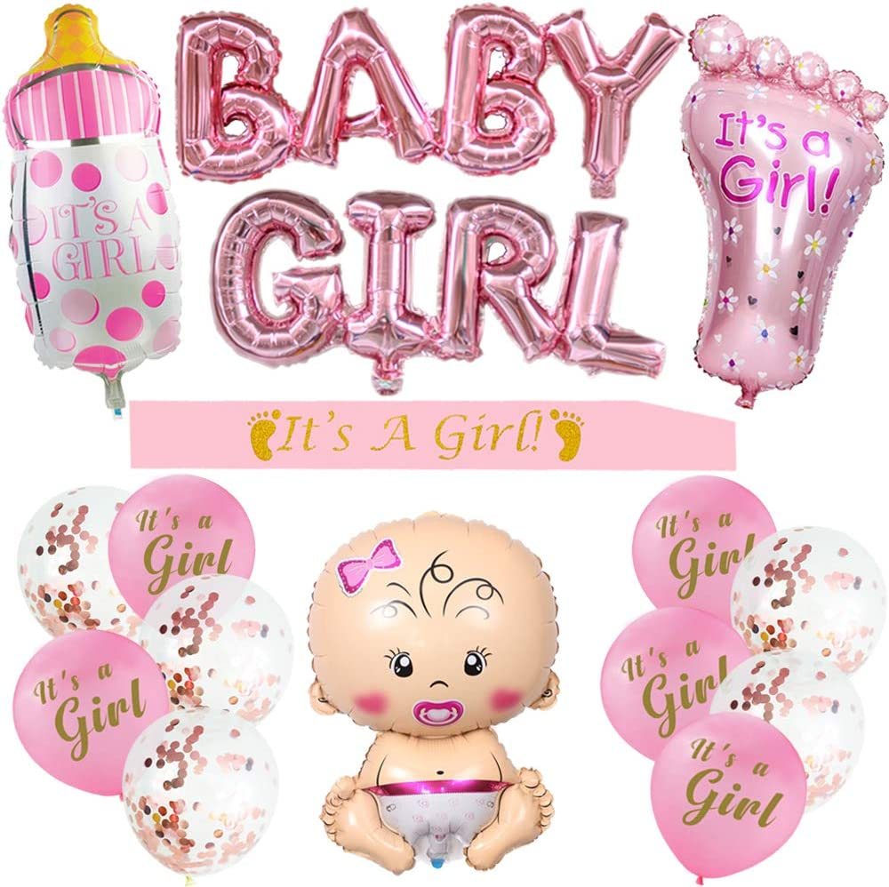 Girl Baby Shower Decorations , Girl Baby Shower Balloons - Baby Girl Foil Balloon Large Baby Bottle Balloon and Monny to Be Sash For It is a Girl Baby Shower