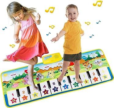Tapete para Piano tamaño Grande (39 * 14 Pulgadas) Juguete para niños con Teclado y Teclado para Piano, Divertido tapete de Baile para bebés Niños ...
