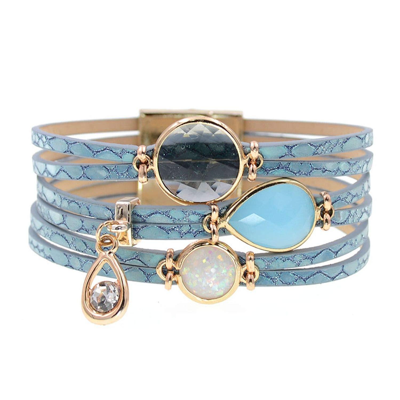 S/&GOLD Women Bracelets Glass Leather Bracelets Bohemia Charm Bracelets for Women