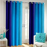 IndianOnlineMall Set of 2 Printed Eyelet Polyester Living Room Window Curtain , Size : Width x Length 48 Inch x 60 Inch, color - Blue)