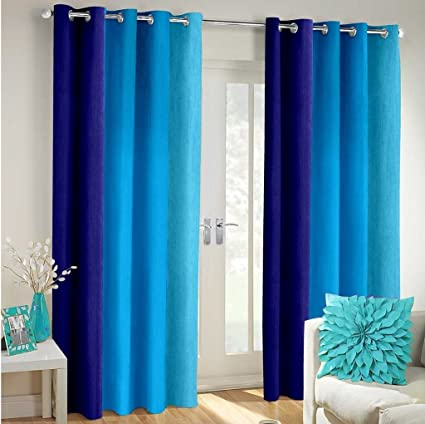 Super India Multi-Colour Fancy Polyester Eyelet Faux Silk- Premium Home Living Curtains Set of…