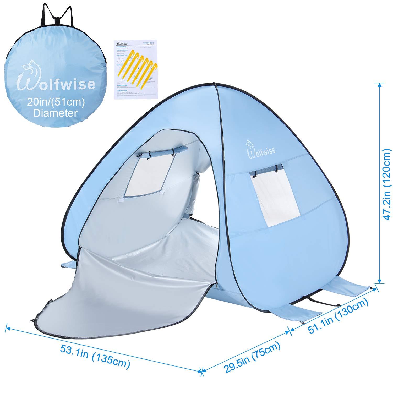 WolfWise UPF 50 UV Schutz Strandmuschel Pop Up Baby//Familien Sonnenschutz Strandzelt Sonnenschirm Tragbar Blau
