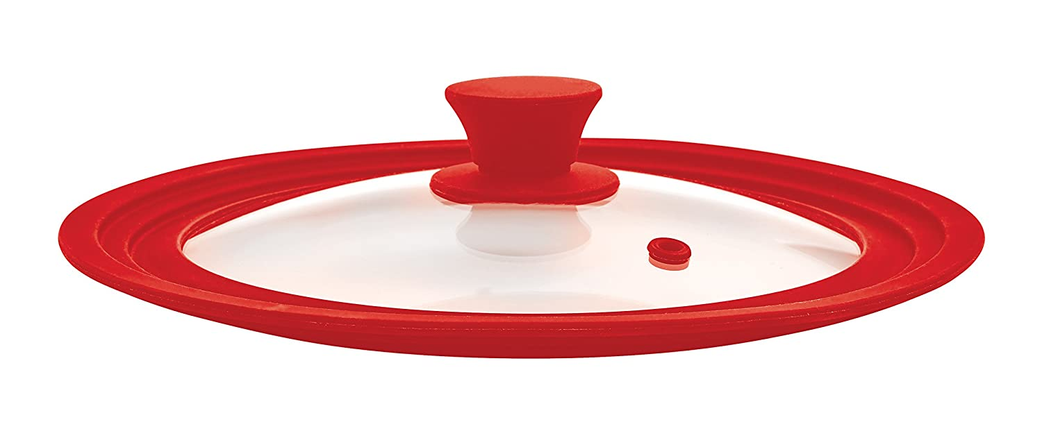 The World's Greatest Universal Pot Lid and Microwave Cooking Cover, Red, Tempered Glass and Silicone, Fits Bowls and Cookware (8.5 to 11.5-Inches)