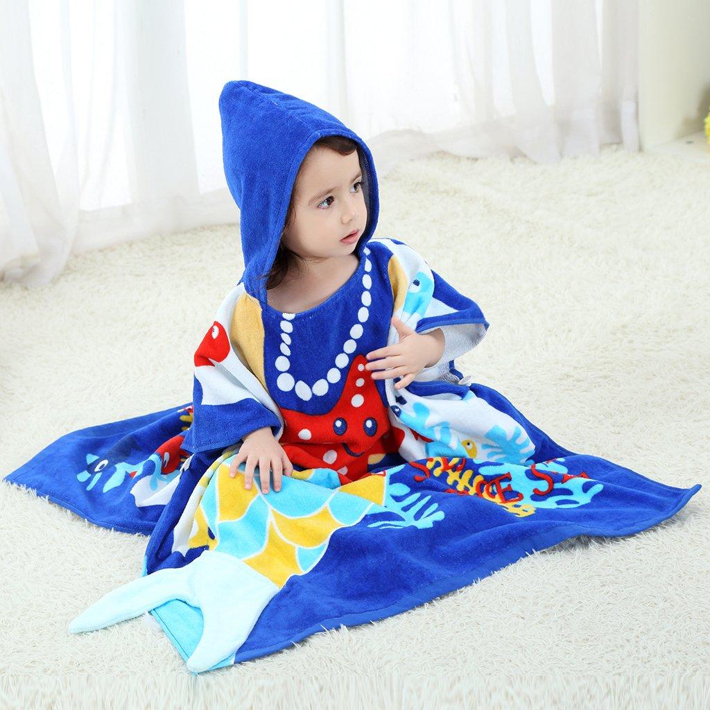 Gogokids Bambina Bambino Accappatoio con Cappuccio Telo da Bagno per Ragazze Ragazzi Coperta in Cotone 100/% Asciugamani Assorbenti