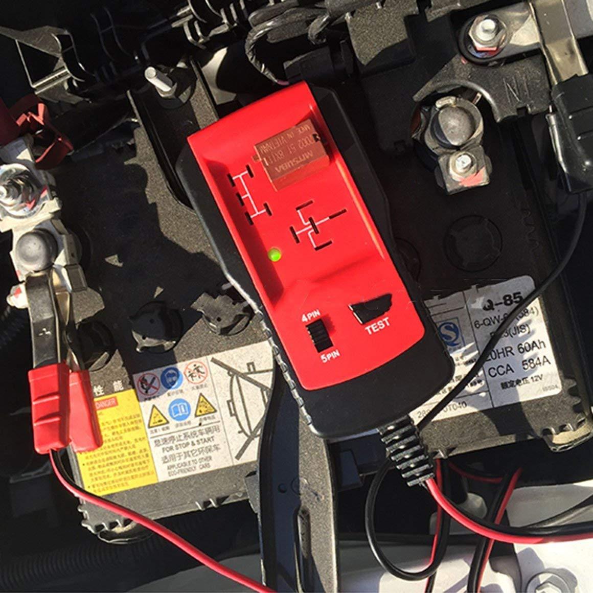 Funnyrunstore Universal 12V Cars Relay Tester Herramienta de Prueba de Rel/é Comprobador de Bater/ía Autom/ático Herramienta de Diagn/óstico Exacta Partes Automotrices Port/átiles Color: rojo y negro