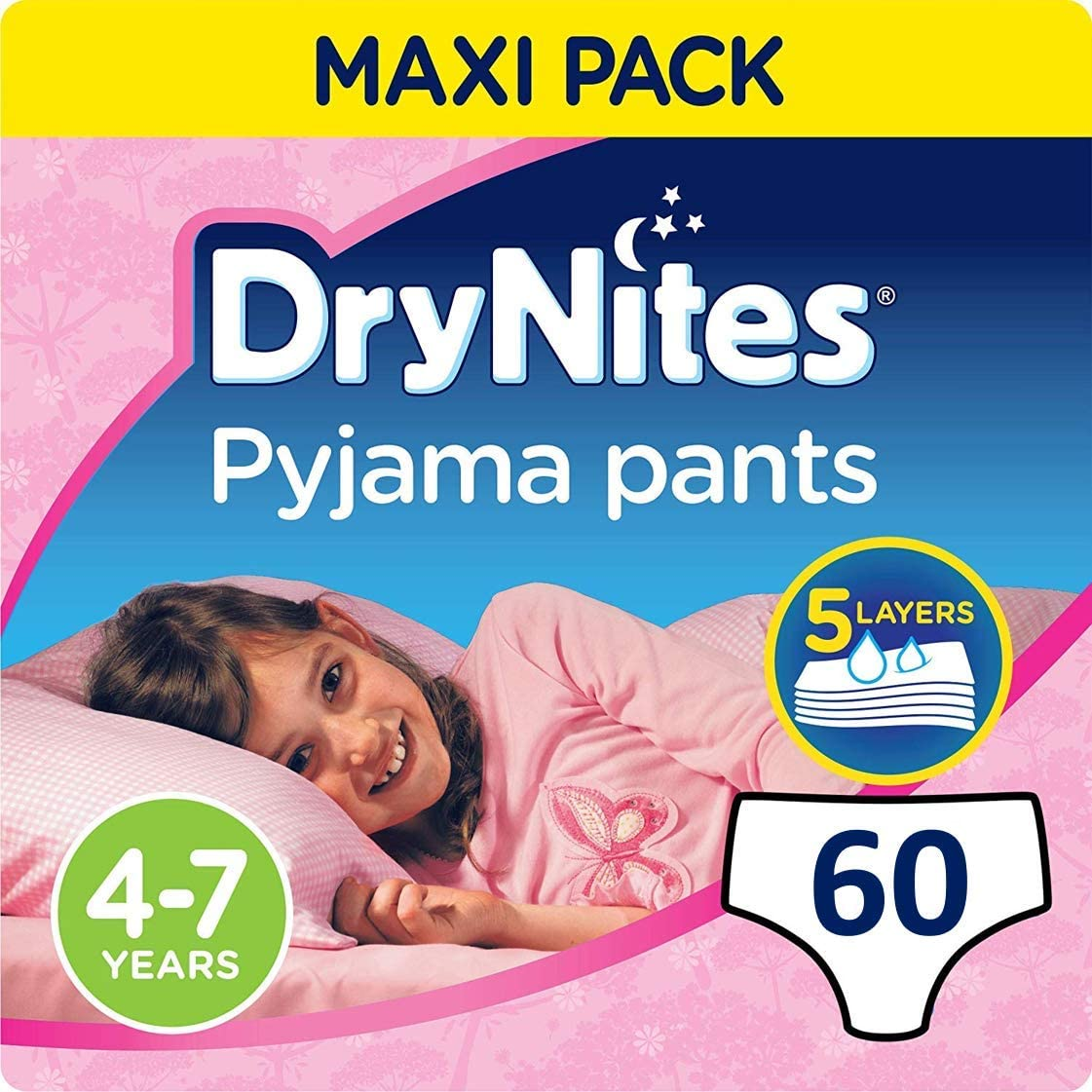 Huggies DryNites hochabsorbierende Nachtwindeln bei Bettn/ässen 60 St/ück f/ür M/ädchen 4-7 Jahre