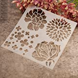 Gemini_mall® Fashion Painting Template Stencil Scrapbooking Album Cake Coffee DIY Art Decor (Flower)
