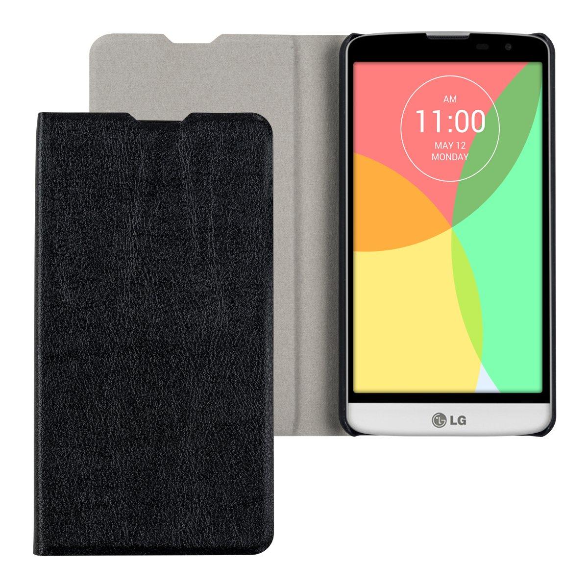 kwmobile Funda para LG L Bello - Carcasa con Tapa Tipo Libro para móvil - Case Protector en Negro