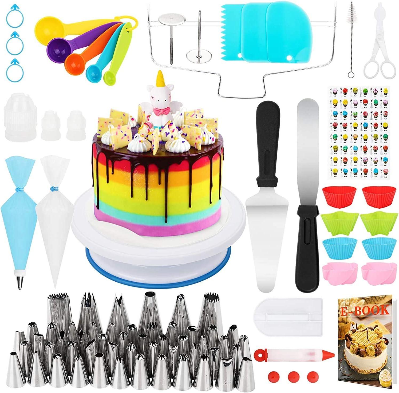 Popolic 120 pcs Juego de Decoración de Pasteles, Torta Giratoria, Cake Turntable, Decoración de Pasteles, Manga Pastelera, Herramienta de Pastelería con 54 Boquillas de Tubería para Cumpleaños Fiesta