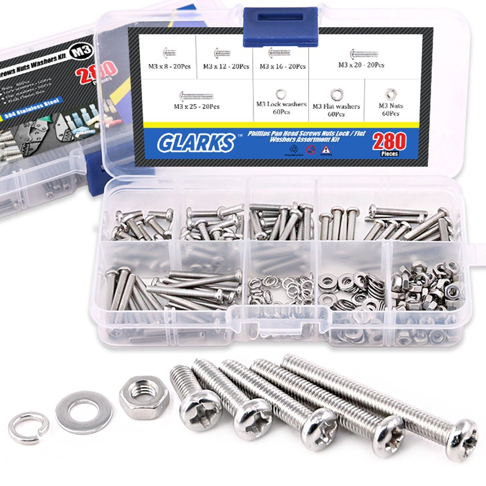 Glarks 280-Pieces M3 Pan Head Phillips Stainless Steel Screws Bolts Nuts Lock and Flat Gasket Washers Assortment Kit