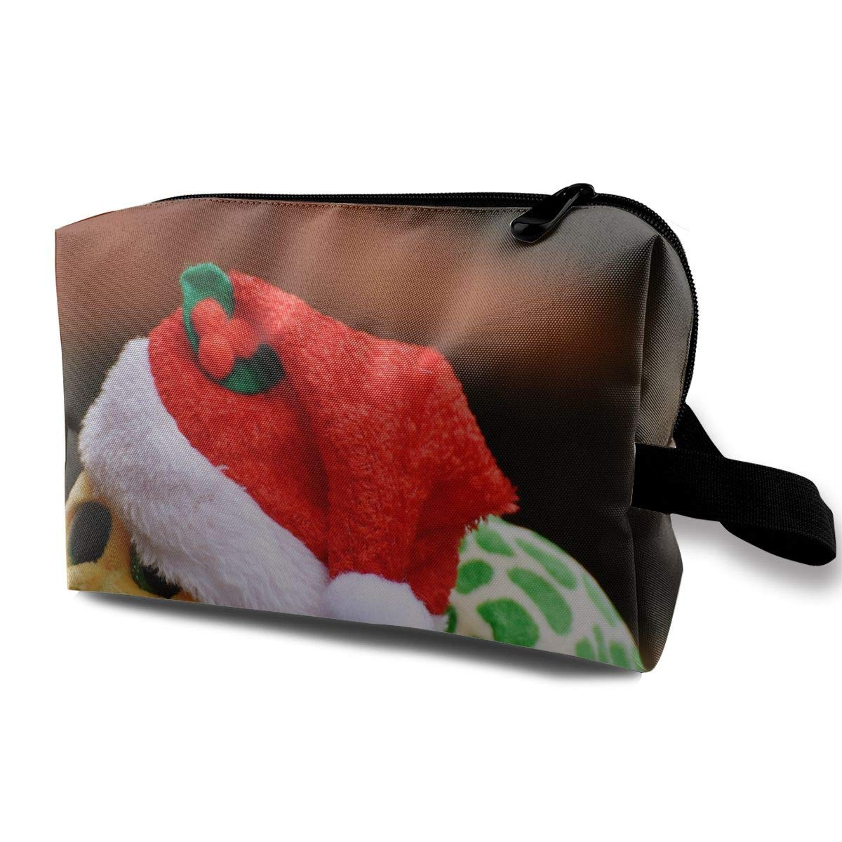 Cute Christmas Hat Plush Toy Turtle Multi-function Travel Makeup Toiletry Coin Bag Case